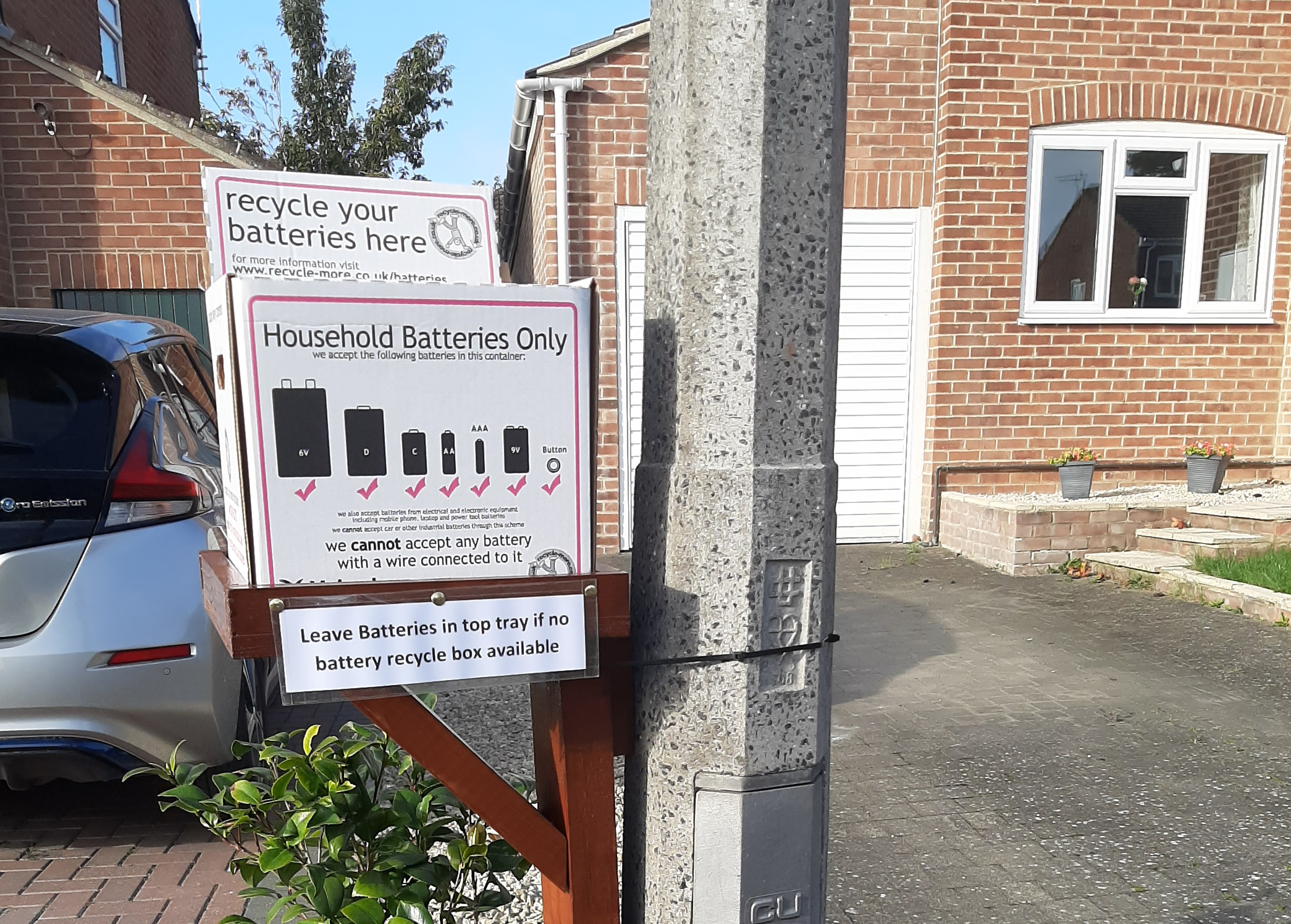 Battery recycling station in Aldbourne